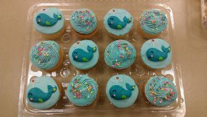 Whale Cupcakes by ayarel