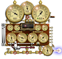 Steampunk Resource Monitor Yahoo Widget by yereverluvinuncleber