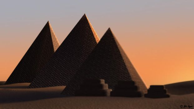 Egyptian Pyramids - Sunset by frosty-blue