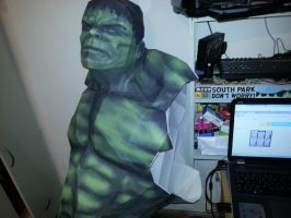 HULK IN LIFE SIZE IN MY WORKSHOP-ALL PAPER by Adisko