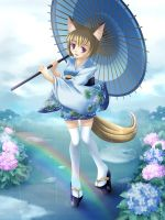 Ukina, the fox of rain by maxwindy