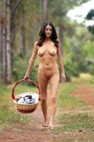 Beautiful Nude Brunette in the Forest by csp-media