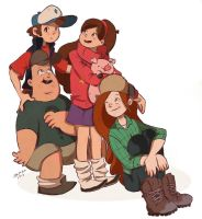 Mabel, Dipper, Wendy and Soos by Izachian
