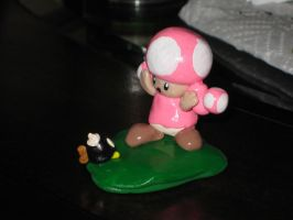 Toadette and a Bob-omb by FairyAnts