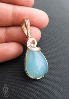 Ocean's Tears Pendant- Chalcedony + Gold PendantA by pixie-trick