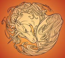 Unicorn - Lineart (orange BG) by RuaCharl
