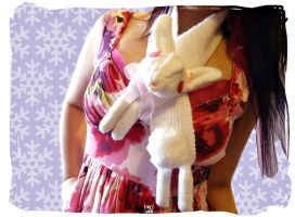 Albino Bunny Rabbit Scarf by Cateaclysmic