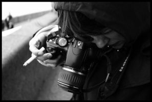camera and cigarette 00 by nothingeater