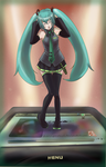 Hatsune Miku and iPod Nano by sharingandevil