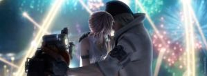 Timeline cover - Serah and Snow kiss by BeepBeep22
