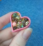 Pink Heart Valentine Chocolate Pendant by xandraclay