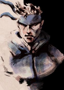 Paintign over draw Solid Snake by Ivan-04