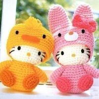 Hello kitty plushies, Duck and bunny versions by Lovepanda29