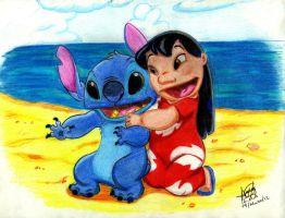 Lilo y Stitch en la playa by IMArellano