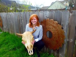 Erica and a Buffalo Skull by badassbonestaxidermy