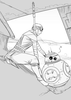 Rey and BB8 by telenia
