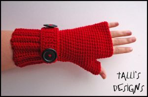 Ribbit Fingerless Gloves Red by tallis-designs