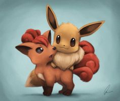Eevee and Vulpix by Quindayo