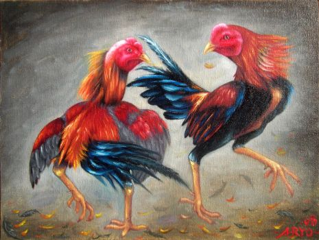 rooster fight by djoensgalery