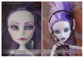 Repainting VS Factory Makeup: Spectra (Violet) by MySweetQueen-Dolls