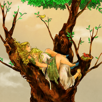 finduilas and nienor sitting on a tree by jubah