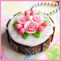 Chocolate Rose Cake Necklace 2 by cherryboop