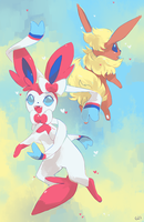 [Day 19] Sylveon and Flaeron by PinkGermy