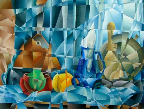 still life in the style of cubism by skitlzz90