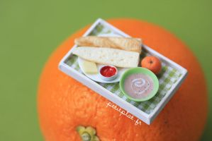 Miniature Food - Breakfast Tray on an Orange by PetitPlat