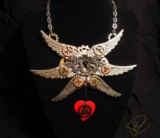 Seal of the Seraphim Steampunk Necklace by HirokoChan