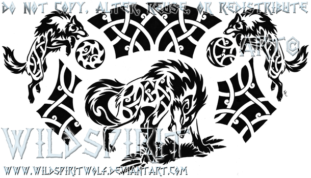 Nordic Ragnarok Tribal Wolf Tattoo by WildSpiritWolf