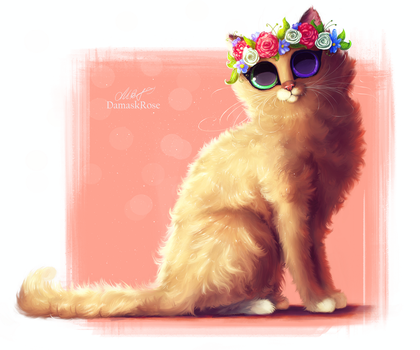 Spring kitty [Commission] by DamaskRose0503