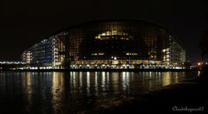 European Parliament by night - Strasbourg, France by Cloudwhisperer67
