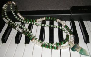 Green Goddess n Pearls Necklac by DAnnsCreations