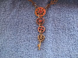 Detail on the gear necklace by Fallonkyra