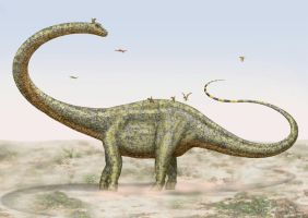 Barosaurus being pestered by Pterosaurs. by paleopeter