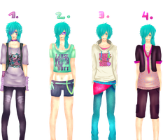 Sky's outfits by DiabolicBlueCherry