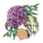Skull and Peony by danny-spikes