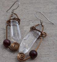 Quartz and Garnet Earrings by LilithLynx