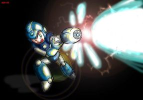 Megaman shooting plasma beam by king-ghidorah