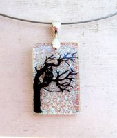 Night Owl Transparent Fused Glass Necklace Pendant by FusedElegance