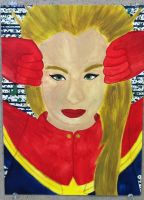 Water Color 2- Captain (Miss) Marvel by QueenoftheLemurs