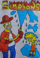 The Simpsons - Fire Fighter Homer and Lisa by Toad-x-Yoshi-x-Peach
