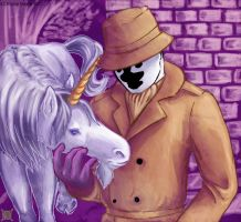 Rorschach with a unicorn by TelekineticWolf