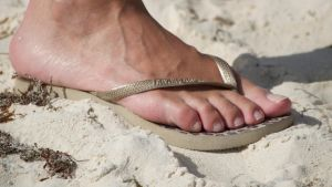 Rica's Natural Feet in Flip Flops at The Beach by Feetatjoes