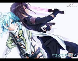 kirito and sinon gun gale online by i-azu