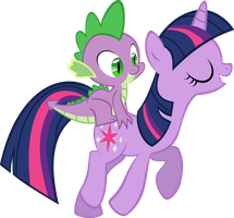 Spike Rides On Twilight by IAmADinosaurRARRR