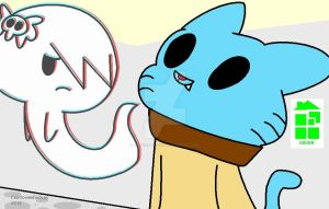 Gumball and Carrie :Paint ver.: by Midnight-Wolfi3