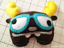 Nerd Moose felt plush by AudreyMillerArt