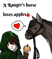 A Ranger's horse loves apples by Aelurus-Lupus